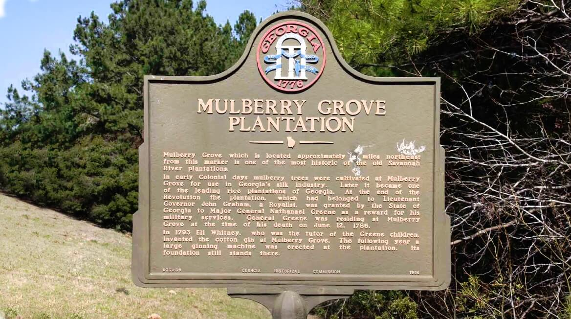 Mulberry Grove Plantation historical marker sign in Port Wentworth Georgia