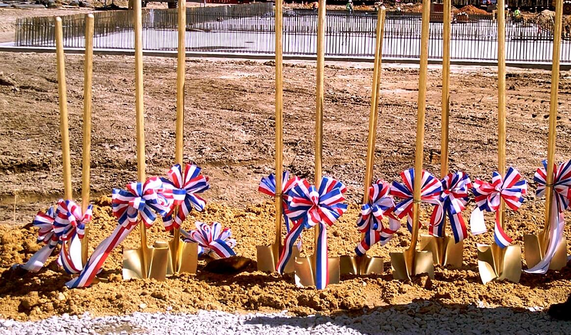 Shovels with red white and blue ribbons in Port Wentworth Georgia